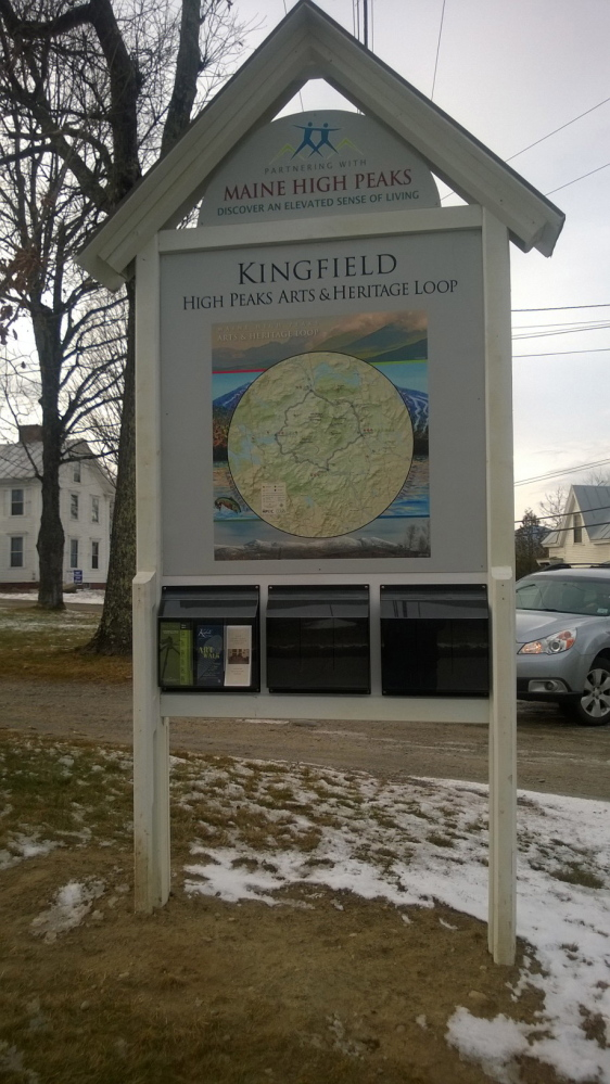 Five kiosks, like this one in Kingfield, have been installed in towns around norther Franklin County to help promote the natural, heritage and artisctic attractions in the area.