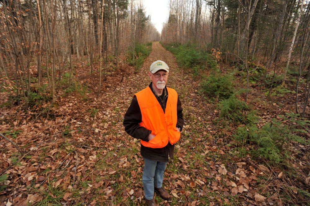 Roger Poulin, a member of the board of the Board of Somerset Woods Trustees, stands in the Coburn Woods trails on Thursday. The group wants to promote and revitalize the trails for public use.
