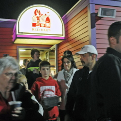 Guests leave the Red Barn in Augusta Monday during a fundraiser for Augusta Police Chief Robert Gregoire.