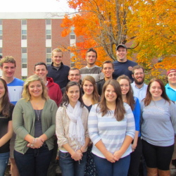 2014 UMF Leadership Summit student participants include, in back, from left: Jeremy Vroom, Nathaniel Libby and Zachary Faulkner. Middle row, from left: Conrad Ward, Sebastien Dumont, Connor Sabia, Kyle Manning, Nicholas Bucci and Tannar Francis. Front row, from left: Louise Villemont, Katherine Beach, Holly Legere, Kimberly Biddlecom, Madeline Boyes, Darrian Church, Jamie Austin and Rachel Schoenberg.