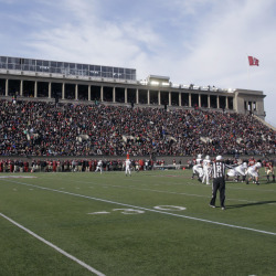 The Harvard and Yale football teams compete at Harvard Stadium in Cambridge, Mass last weekend. Boston is bidding on the 2024 Summer Olympics, and Harvard Stadium could be used as a venue for field hockey. The crux of the proposal is a walkable, sustainable, technology-based event that would harness the resources of the area's 100 colleges and universities to keep the Games affordable and compact.