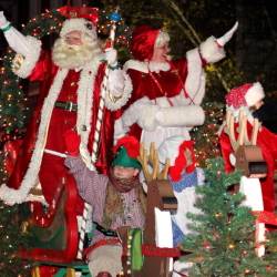 Santa greets the crowds in downtown Waterville during the Parade of Lights parade a few years ago. The annual parade, a traditional start of the countdown to Christmas, begins Friday at 6 p.m.