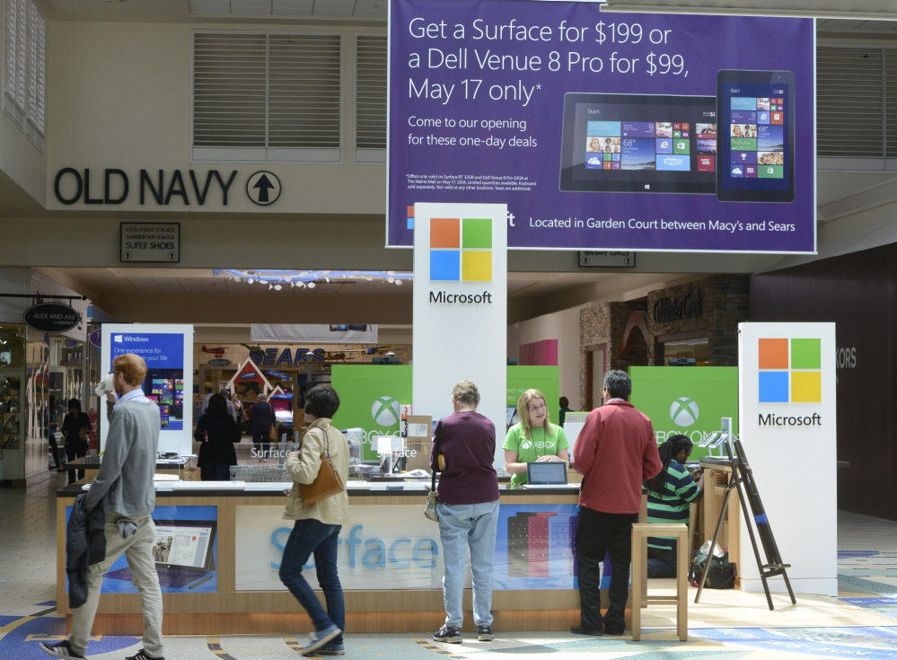 A Microsoft store opened in the Maine Mall in South Portland last fall, one of many stores that have opened recently there.