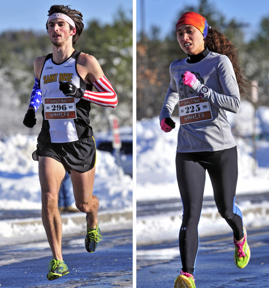 Andrew Reifman-Packett, left, of Harpswell, was the first male finisher and Cecilia Morin, of Waterville was the first female finisher at the Gasping Gobbler 5k race on Thursday at Cony High School in Augusta.