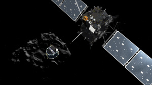 The image released by the European Space Agency ESA on Wednesday, Nov. 12, 2014 shows an artist rendering by the ATG medialab depicting lander Philae separating from Rosetta mother spaceship and descending to the surface of comet 67P/Churyumov-Gerasimenko. European Space Agency said Wednesday that the landing craft separated from Rosetta probe for descent to comet 67P. (AP Photo/ESA, ATG Medialab)
