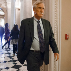 Before the Senate's vote Tuesday on the Keystone XL oil pipeline, independent Sen. Angus King of Maine leaves a strategy session of the Democratic caucus. King voted against the bill despite what he described as his frustration over President Obama's refusal to make a decision on the pipeline.