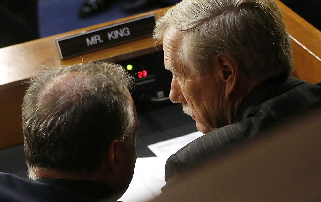 U.S. Sen. Angus King, I-Maine, right, confers with Sen. Tim Kaine, D-Virginia on Capitol Hill. They serve on two committees together.