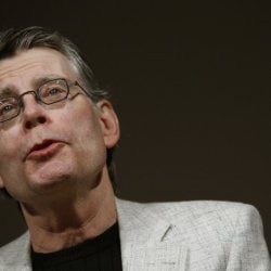 Author Stephen King speaks at news conference to introduce Kindle 2 electronic reader in New York