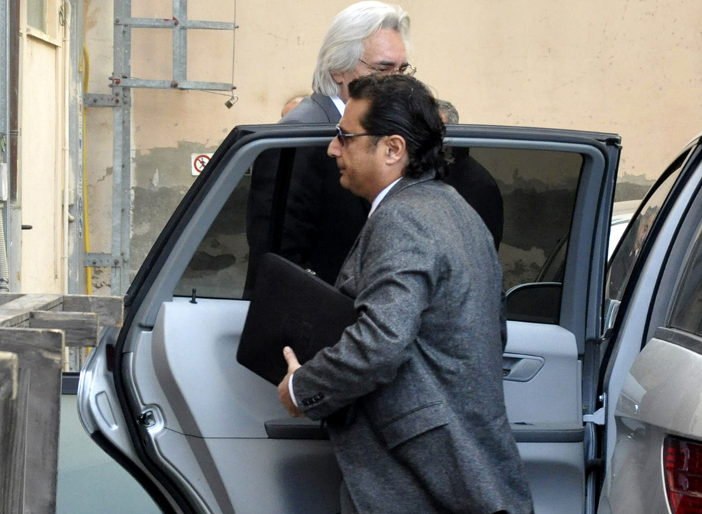 Francesco Schettino arrives to offer his first court testimony about the 2012 shipwreck off an Italian island that killed 32 people, in Grosseto, Italy, Tuesday.