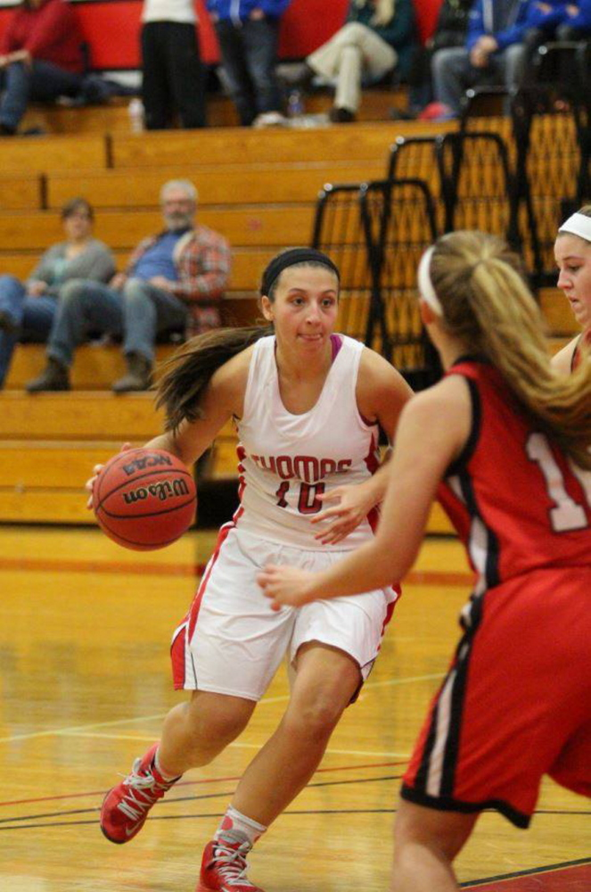Katie McAllister is one of just three returners for the Thomas College women'sbasketball team. The Pittston native is playing primarily guard this winter.