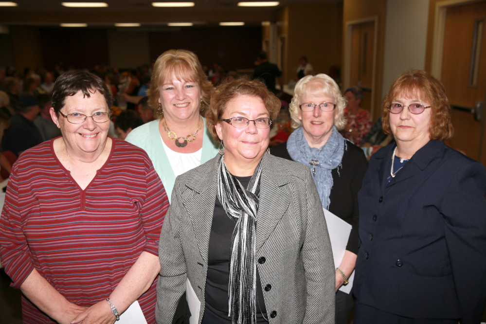 Longtime employees of Franklin Community Health Network recently honored are, from left, Mary O'Donal, Lesa Thompson, Michelle Lucey, Marsha James and Carol James.