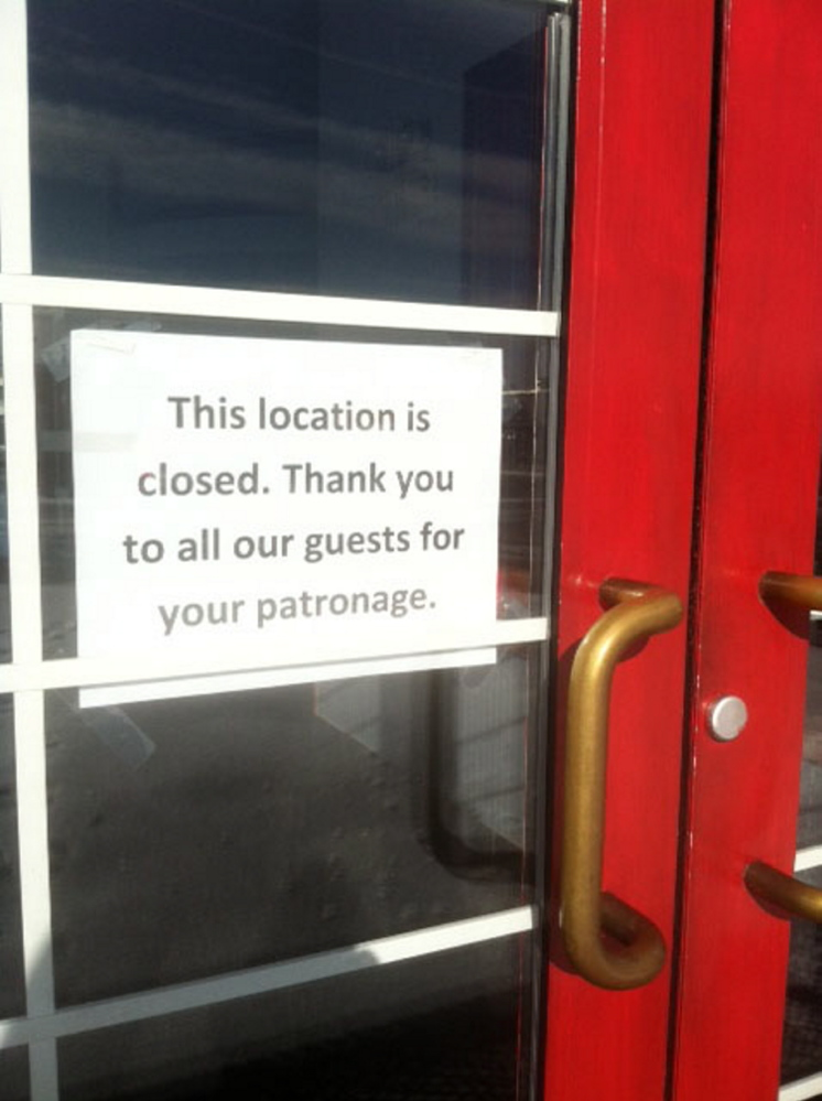 A sign on the door at Friendly's, 373 Main St. in Waterville. The restaurant closed suddenly this week.