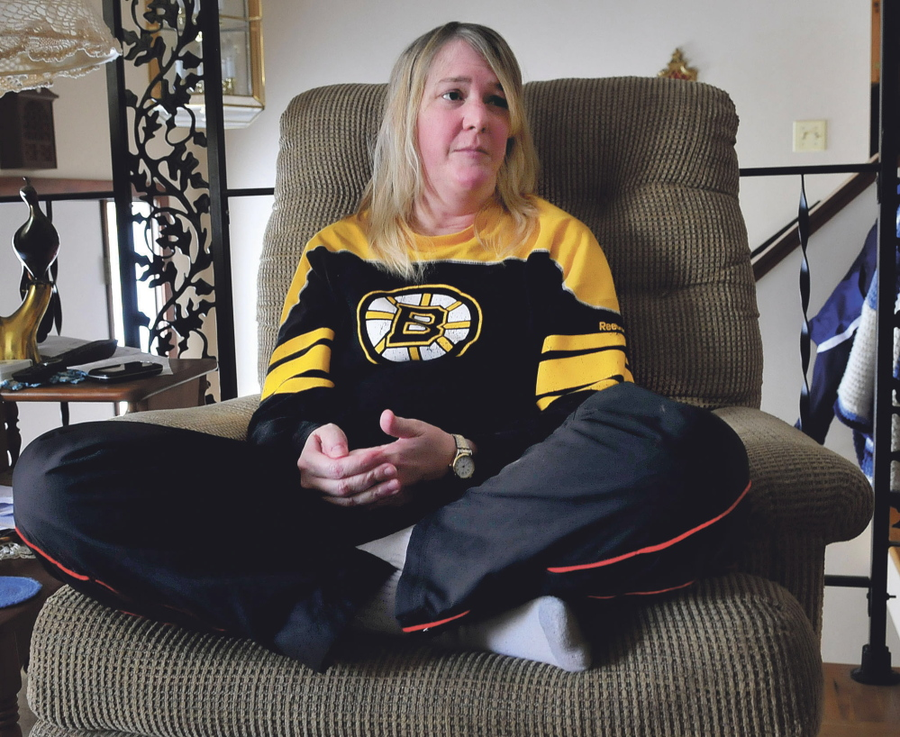 Army veteran Roxane Marie Montgomery, seen last week in an interview with the Morning Sentinel, was arrested Saturday after an accident in Oakland.