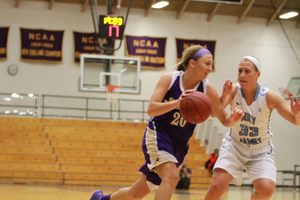 Litchfield native Maggie Sabine, left, has enjoyed a standout career for the Saint Michael's women's basketball team.