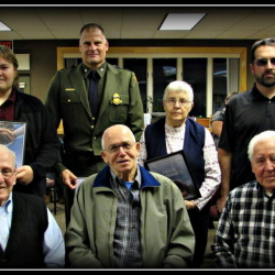 Front, from left World War II veterans Rene Morin, Leo Beaudreau and Wallace Bisson. Back, from left, David O'Sickey, Reggie Felker, Louisa Quirion and Boyd Fortier.