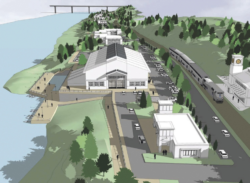 An artist's rendering shows a redeveloped Statler Tissue site with a proposed passenger train station on the east side of the Kennebec River in Augusta.