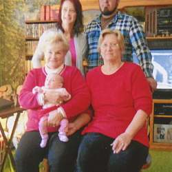 Front, from left, great-great-grandmother Jackie Herber, of Hallowell, holding Autumn May Caswell, of Richmond, and great-grandmother Jennifer Reynolds; and back, from left, grandmother Heidi Caswell, of Minot, N.D., and father Stephen Caswell, of Richmond.