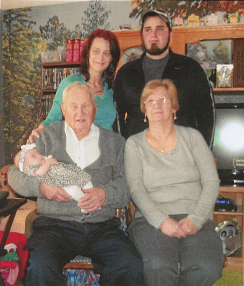Front, from left, great-great-grandfather Harold Jones Sr., of Augusta, holding Autumn May Caswell, of Richmond, and great-grandmother Jennifer Reynolds, of Richmond; and back, from left, grandmother Heidi Caswell, of Minot, N.D., and father Stephen Caswell, of Richmond.