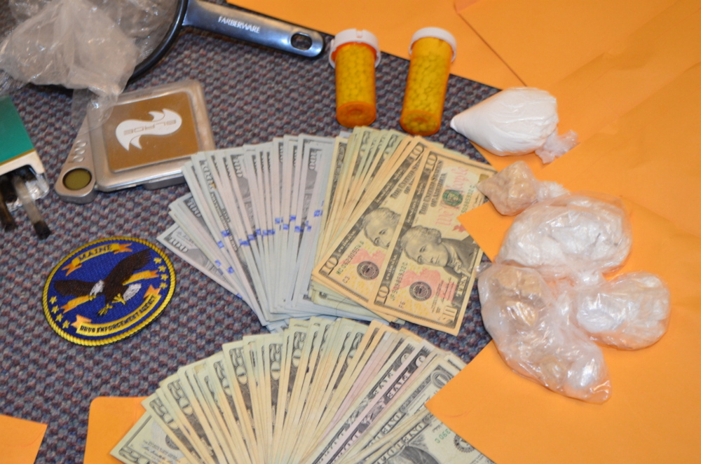 Drugs and money seized in the Wednesday raid at an Augusta motel.