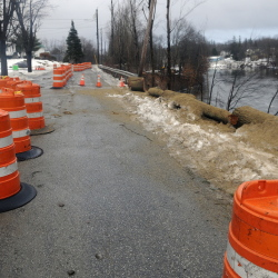 A section of Harrison Avenue in Gardiner was closed Wednesday after the city discovered part of the embankment had eroded.