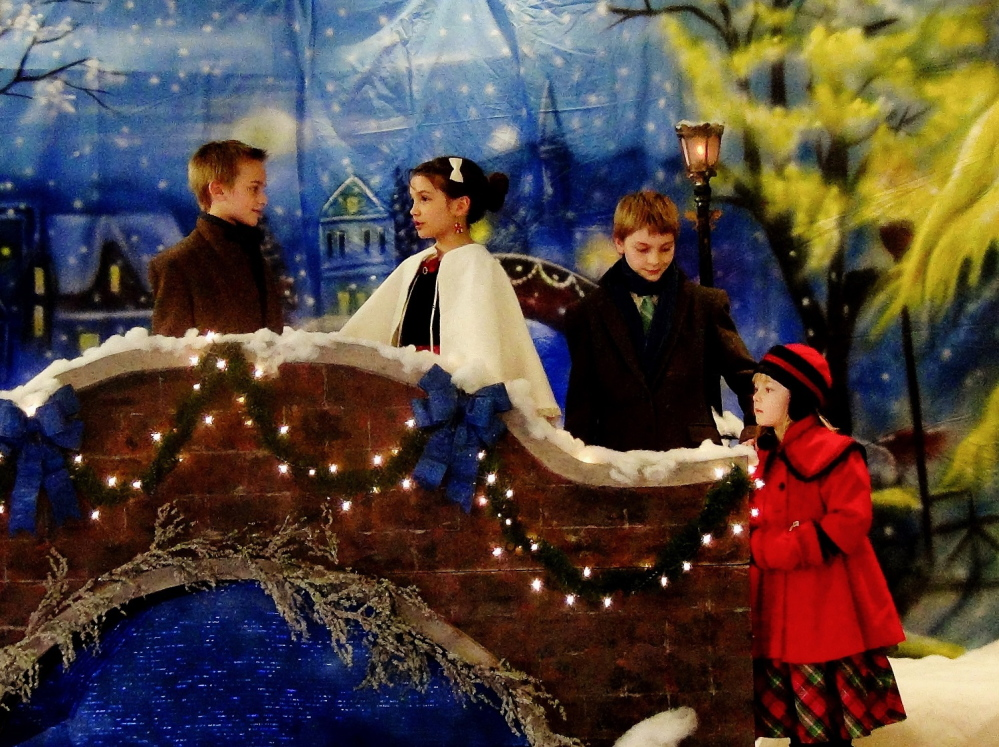 """The hymn-origin drama of """"O Little Town of Bethlehem"""" will be presented at 7 p.m. Dec. 19-21 at New Hope Baptist Church, 268 Perham St., Farmington. From left are Ezra Wildrick, Giulia Johnson, John Curtis Winslow and Melody Andrews."""