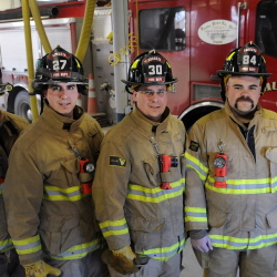 "Recently appointed city of Augusta firefighters at Hartford Station on Tuesday, Dec. 2, from left, are Nicky Santy, Brian Michaud, Patrick Underwood and Jeremy Manzer. The medics are scheduled to be sworn in on Dec. 19 after a month-long probationary fire academy period, according to Fire Chief Roger Audette. ""The Augusta Fire Department responds to 6,000 emergency calls a year. The training that is required to be able to respond here is tremendous. The city of Augusta has an airport, a major highway, major river and a large demand for EMS that requires our personnel to be fully trained on all phases of the job. I am so impressed by this group of firefighters and the mix of education training and experience that they bring to our department,"" Audette said in a statement."