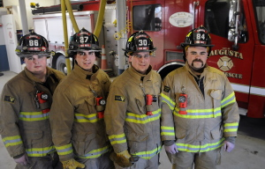 """Recently appointed city of Augusta firefighters at Hartford Station on Tuesday, Dec. 2, from left, are Nicky Santy, Brian Michaud, Patrick Underwood and Jeremy Manzer. The medics are scheduled to be sworn in on Dec. 19 after a month-long probationary fire academy period, according to Fire Chief Roger Audette. """"The Augusta Fire Department responds to 6,000 emergency calls a year. The training that is required to be able to respond here is tremendous. The city of Augusta has an airport, a major highway, major river and a large demand for EMS that requires our personnel to be fully trained on all phases of the job. I am so impressed by this group of firefighters and the mix of education training and experience that they bring to our department,"""" Audette said in a statement."""