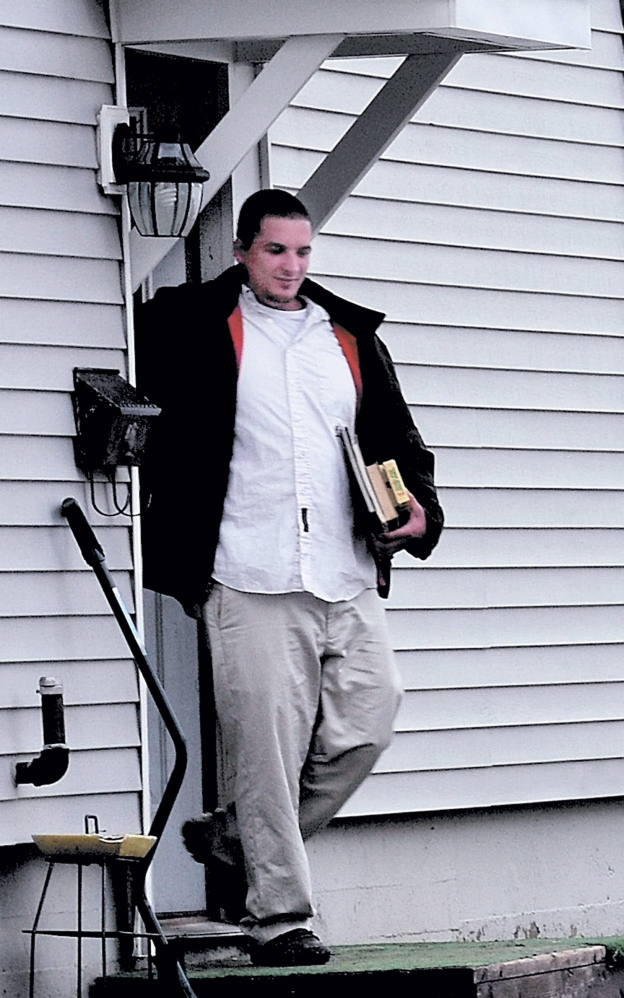 Lance DiPietro, brother to Justin DiPietro, leaves 29 Violette Ave. in Waterville in December where Ayla Reynolds was reported missing.