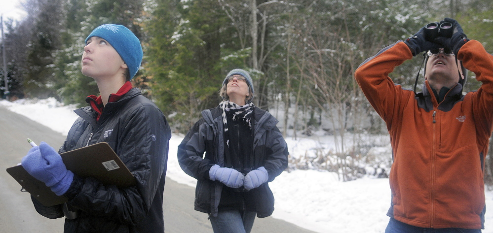 Anna Hodgkins, left, Tina Wood and Hodgkins' father, Glenn, record birds they sight in Farmingdale while participating in the annual Christmas Bird Count on Sunday. The Hodgkins, of Hallowell, and Wood, of Gardiner, were one of several teams that searched for avians throughout Kennebec County.