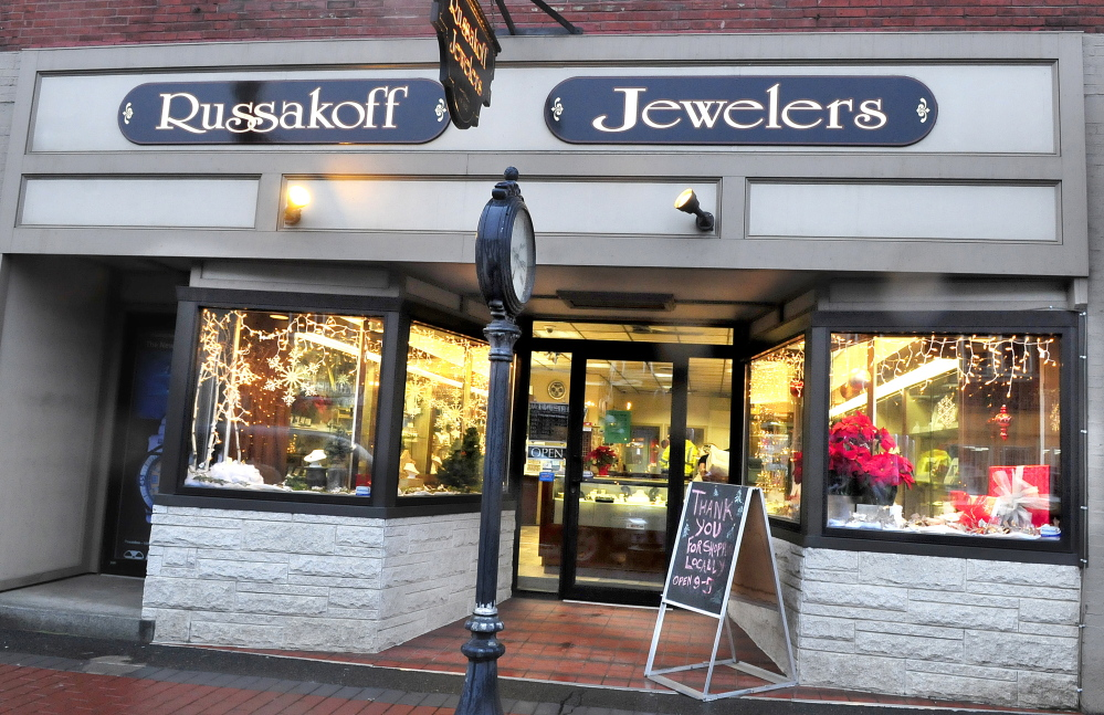 The front store facade at Russakoff's Jewelers in Skowhegan has been renovated recently.