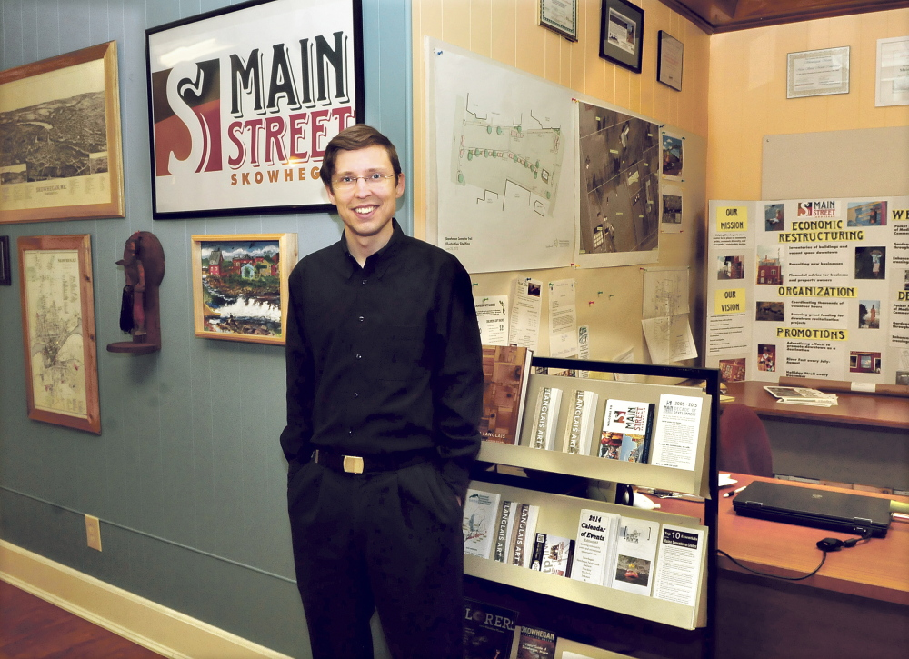 Dugan Murphy, executive director of Main Street Skowhegan, in his office overlooking downtown Skowhegan.