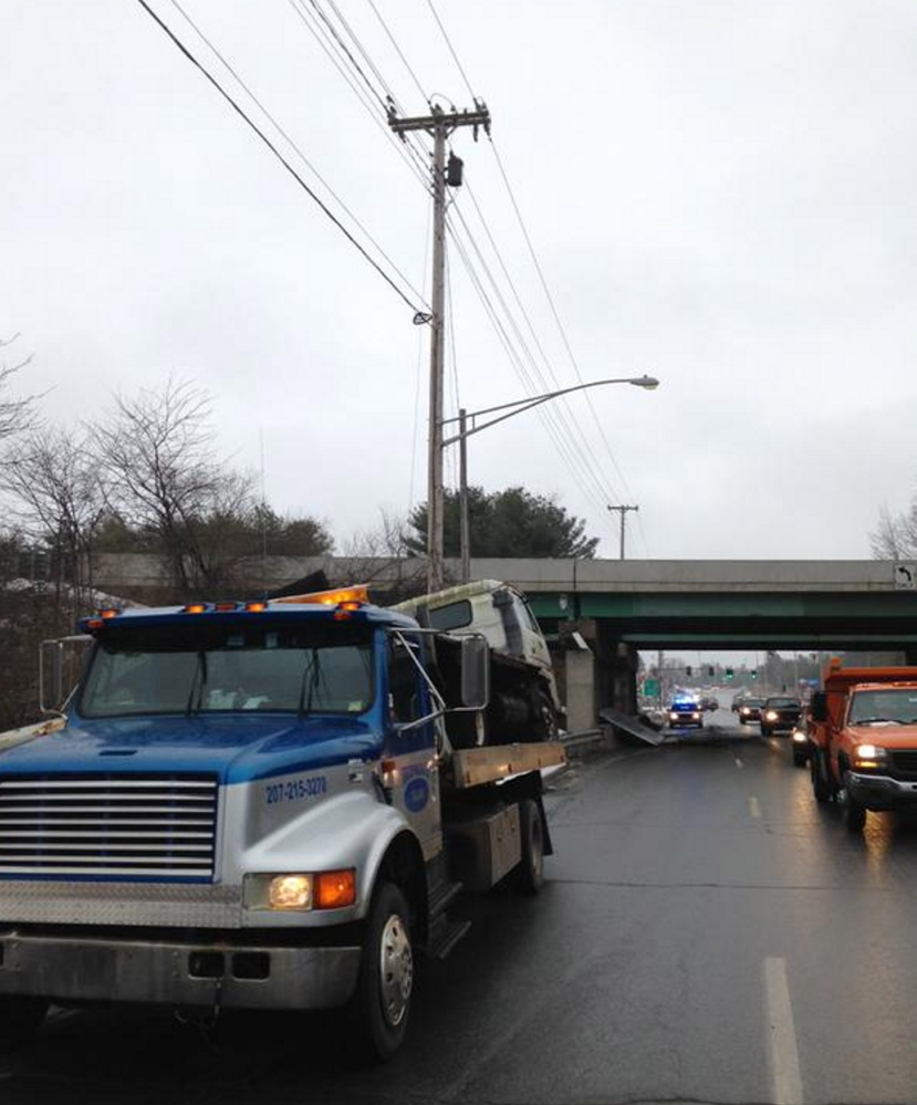 A truck crash at the interstate overpass on Civic Center Drive in Augusta
