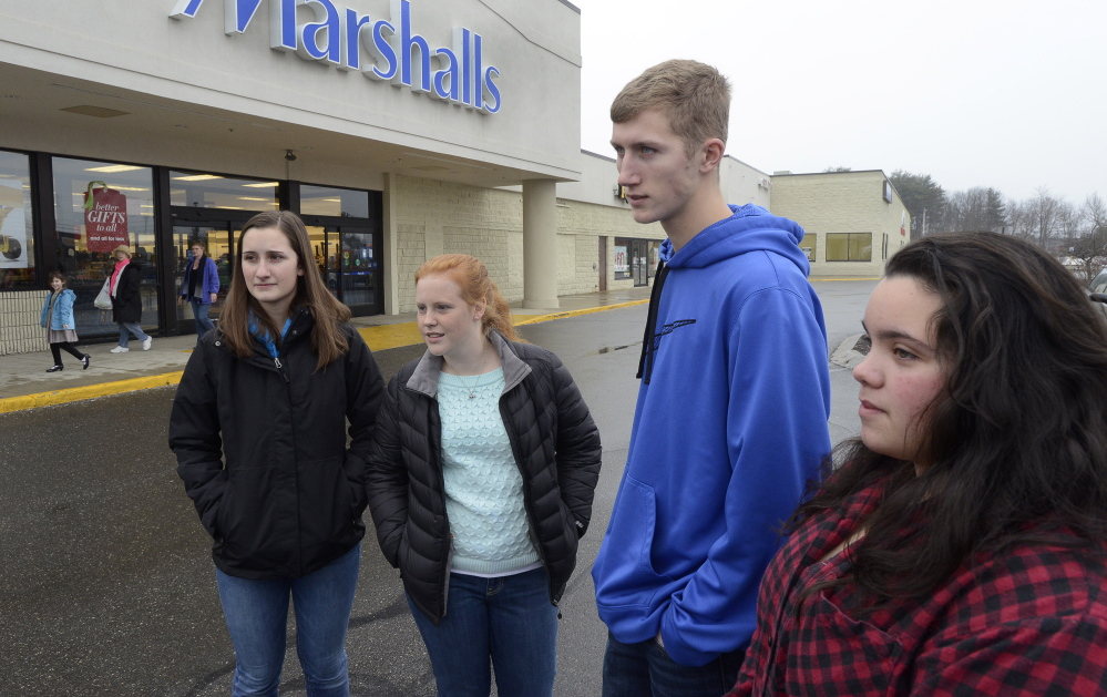 WINDHAM, ME - DECEMBER 16: Windham HS seniors Katelyn Dudley, Emily Algeo, Jackson Gianpino and Avianna Macie give their views as Windham school officials, parents and students react to closure of schools due to a threat. (Photo by John Patriquin/Staff Photographer)
