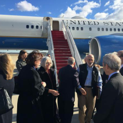 This handout photo from the Twitter account of Sen. Jeff Flake, R-Ariz. shows Alan Gross arriving at Andrews Air Force Base, Md., Wednesday.