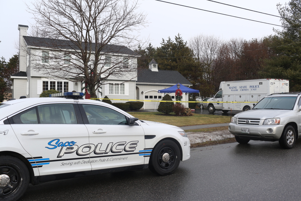 The home at 25 Hillview Ave. in Saco Thursday, where two people were shot during an early morning home invasion.