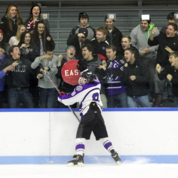 Waterville Senior High School's Justin Wentworth celebrates a first period goal during Thursday night's Eastern B game against Hampden Academy at Colby College in Waterville.