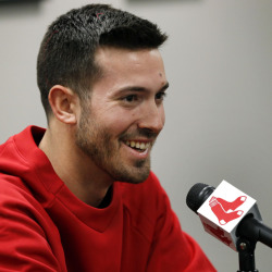 Newly acquired Boston Red Sox baseball pitcher Rick Porcello speaks in Boston on Friday. Porcello was recently traded to the Red Sox from the Detroit Tigers.