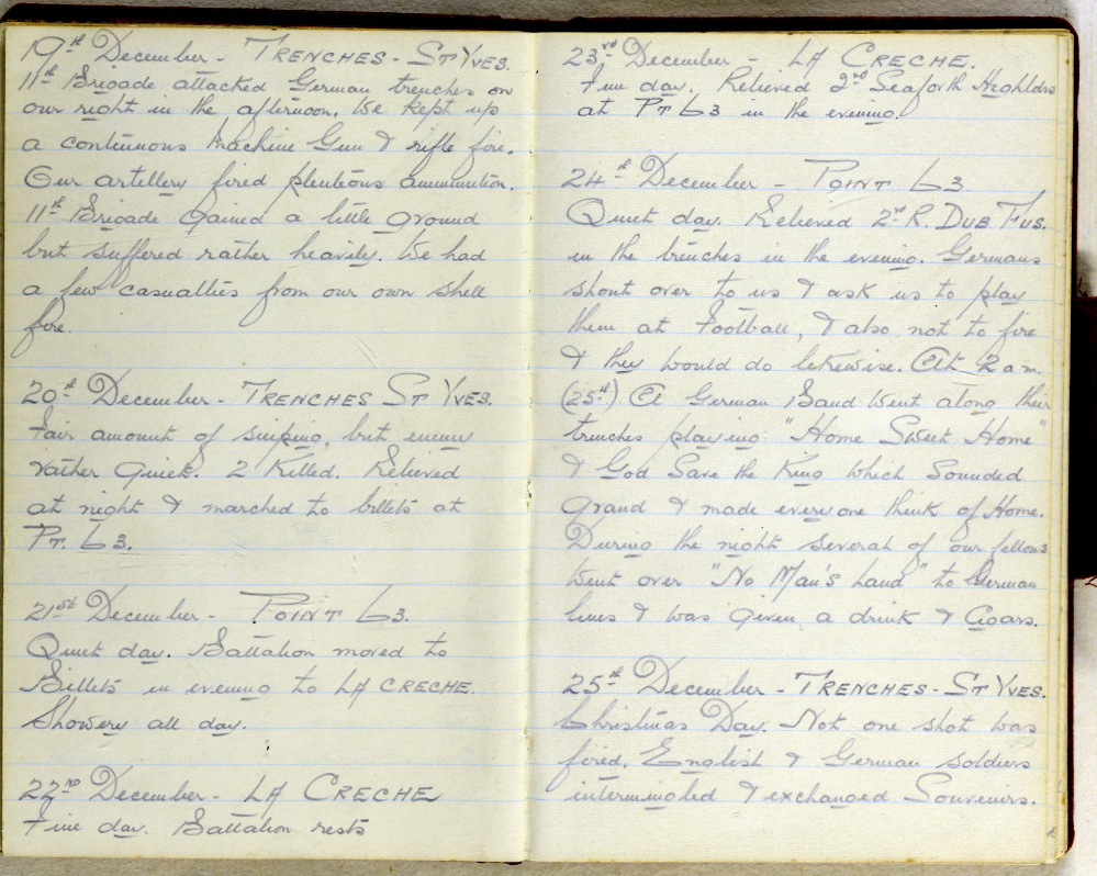 In this undated image provided by the Dorset History Centre, a diary entry from Christmas 1914 by World War I Regimental Sergeant Major George Beck. Beck served with the Royal Warwickshire Regiment and kept a diary of his time in the trenches, including several major battles, the Christmas Truce and the first use of gas in 1915.