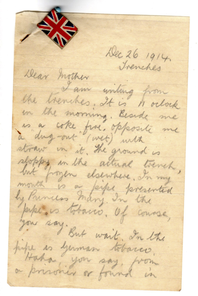The letter from World War I soldier Private Henry Williamson to his mother dated Dec. 26, 1914, from the Henry Williamson Society.