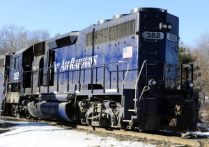 A fire Saturday morning disabled this locomotive, seen stopped near the Berry Road railroad crossing in Monmouth.