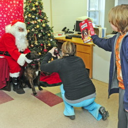 Donald Demeras, dressed as Santa Claus, poses with a Ashton, a shelter dog available for adoption, on Saturday while Amanda Thompson takes their photo at the Kennebec Valley Animal Shelter in Augusta. Ashton Glockler, 12, of Augusta, shakes a box of treats to try to get Ashton to keep looking up.