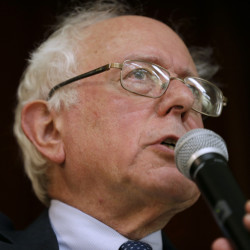 Sen. Bernie Sanders, I-Vt., speaks during a town hall meeting in Ames, Iowa on Dec. 16. Sanders says he'll decide by March whether to launch a 2016 presidential campaign.