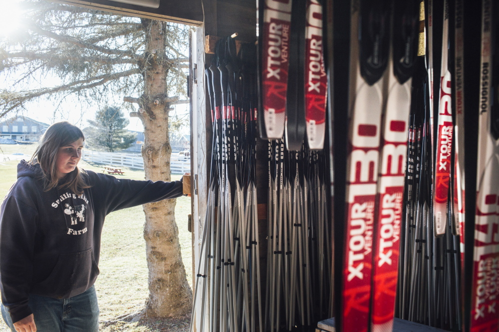 Smiling Hill Farm employee Hillary Knight looks into the rental cross country skis at the Smiling Hill Farm in Westbrook, on Friday. The trails at Smiling Hill have only been open three days so far this season, Knight said.
