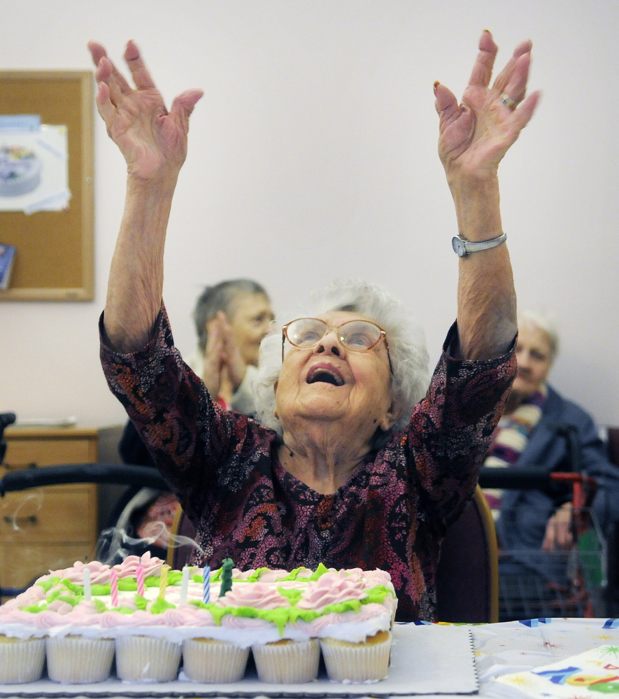 Gertrude Virgin gives thanks Sunday for her family and friends celebrating her 106th birthday in Gardiner. Friends and family celebrated the milestone with cake and cards.