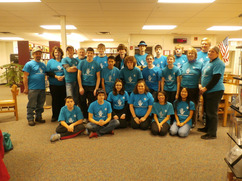 Hall-Dale High School's REM Delta Prime Robotics team in back, from left, are Rodger Bare, Liz Nitzel, William Seigars, Mike Dunn, Ethan Williams, Joe Rushlau, Nate Stahlnecker, Neil Stottler, Barry Nitzel and Rob Nitzel. Middle row, from left, are John Wallace, Ean Smith, William Fahy, Mackenzie Creamer, Ben Hodgkins, Alice Smith and Karen Giles. In front, from left, are Cam Corbin, Micah Thomas, Anna Schaab, Courtney Rhoten, Ellie Smith and Em Freed.