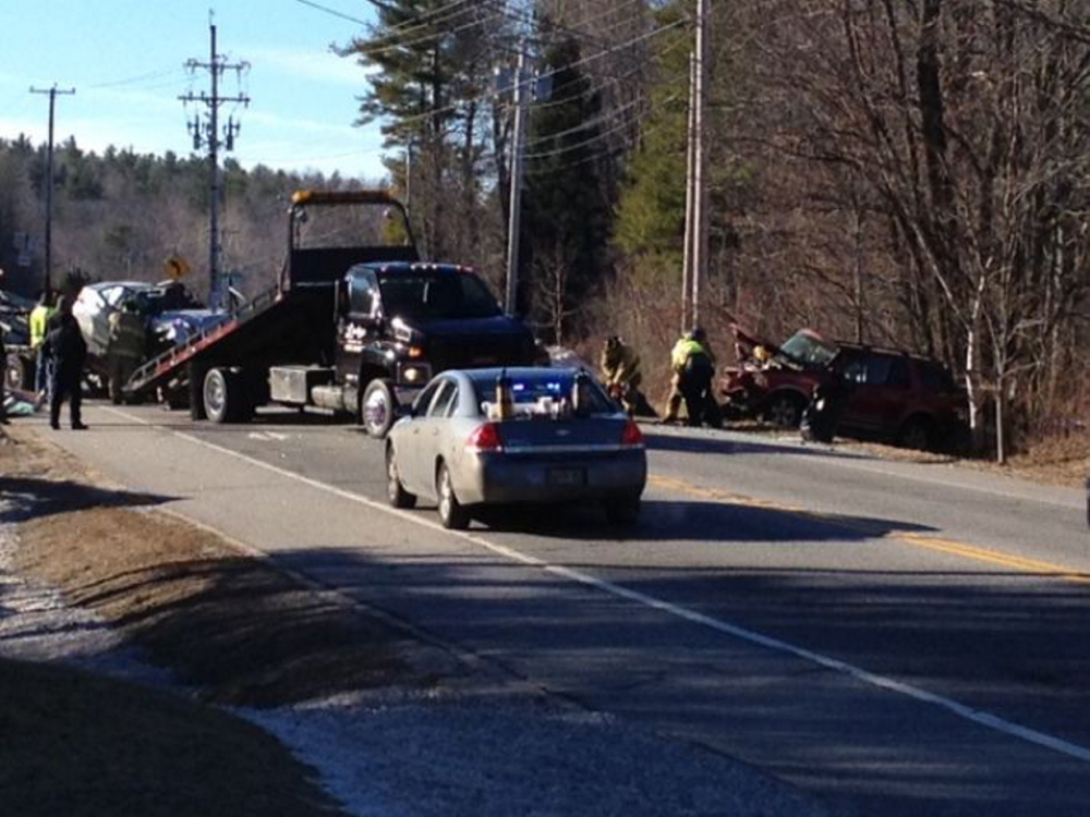 A Winthrop father and son were killed in a head-on crash Tuesday at the intersection of Leeds Junction Road and U.S. Route 202.