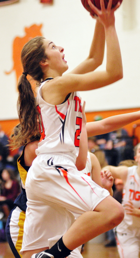 Gardiner's Mary Toman goes up for a shot during a game against Medomak Valley on Tuesday in the John A. Bragoli Memorial Gym at Gardiner Area High School.