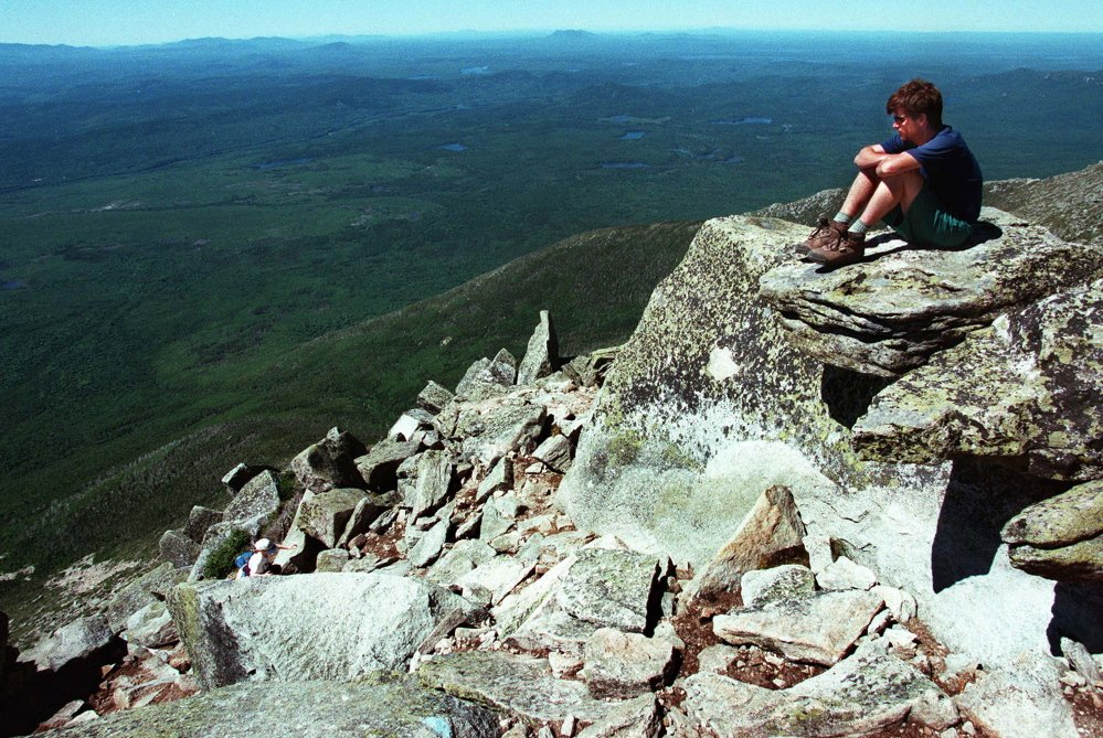 The scenery is breathtaking near the top of Mount Katahdin's Abol Trail. The relocated part of the trail won't be as steep as the old route but will bring hikers to a ridge with sweeping views of the valley. 1997 Press Herald file