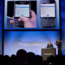 Jeff Gadway, BlackBerry's director of marketing and enterprise, demonstrates the company's new BlackBerry Classic phone Wednesday in New York.