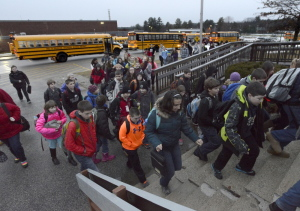 Windham middle school students return to class after a three-day shutdown caused by an emailed threat. John Patriquin/Staff Photographer